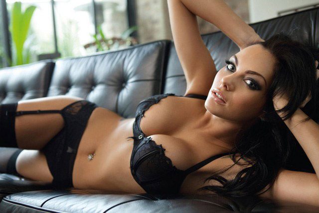Jessica Jane Clement in black lingerie