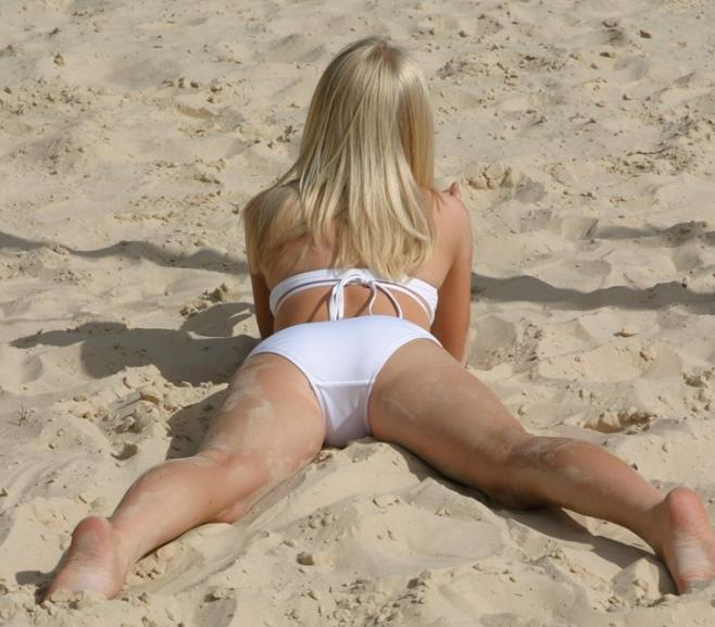 Blonde Skye in a Cute Bikini on a Beach | Daily Girls @ Female Update