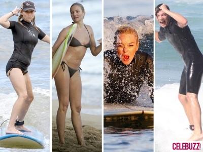 Surfing Celebrities: Cameron Diaz,Lindsay Lohan