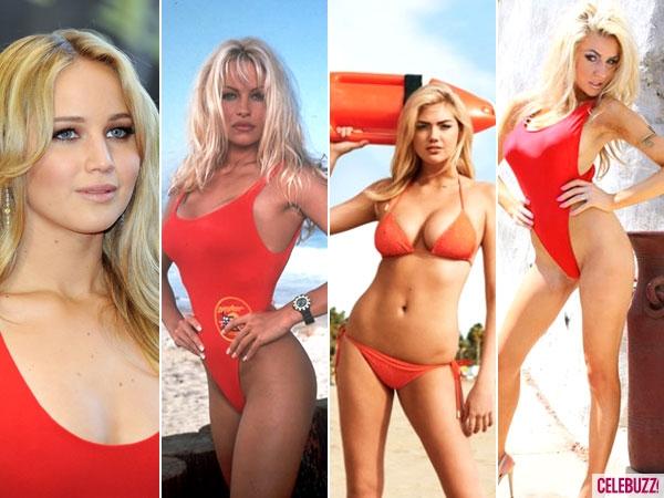 Jennifer Lawrence, Kate, Courtney Baywatch Suits