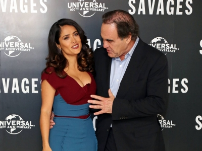 Salma Hayek's Cleavage Distracts Oliver Stone | Daily Girls @ Female Update