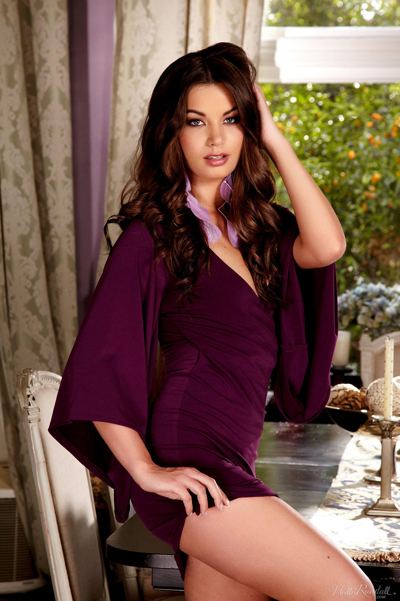 Amber Addisson in Purple Dress for Holly Randall