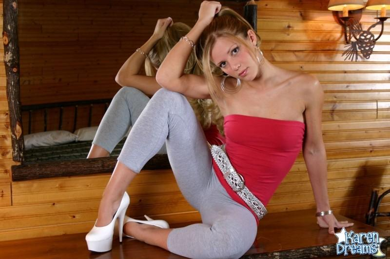 Blonde girl Karen Dreams posing in grey leggings   Daily Girls @ Female Update