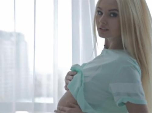 Blonde Girl Teasing in Bra and Panties