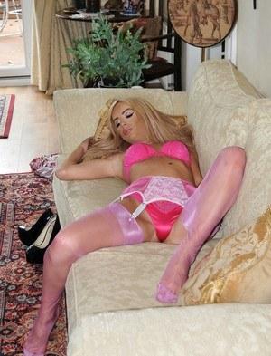 Hot blonde slides satin underwear aside | Daily Girls @ Female Update
