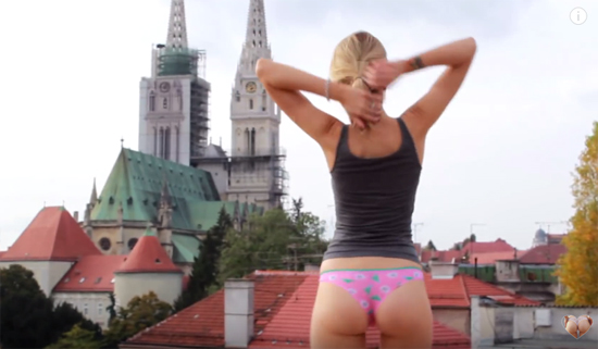Hot girl on a rooftop trying on sexy panties | Daily Girls @ Female Update