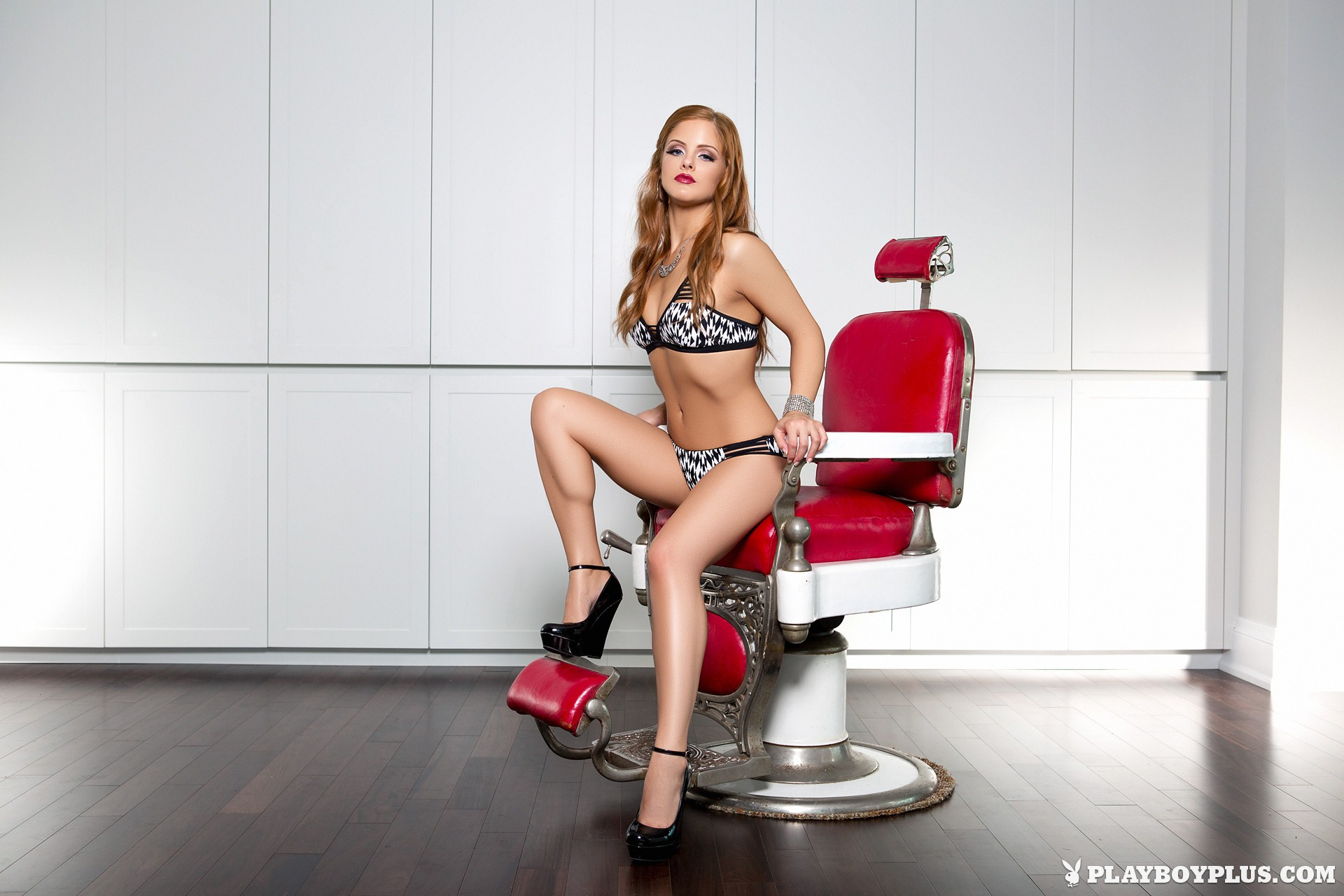 Josée Lanue nude in Barber's Chair for Playboy