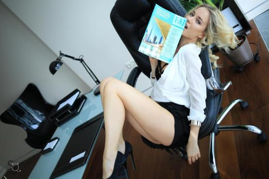 MonroQ in office pose for StasyQ | Daily Girls @ Female Update