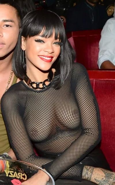 Rihanna Wears See-Through Shirt In Paris | Daily Girls @ Female Update