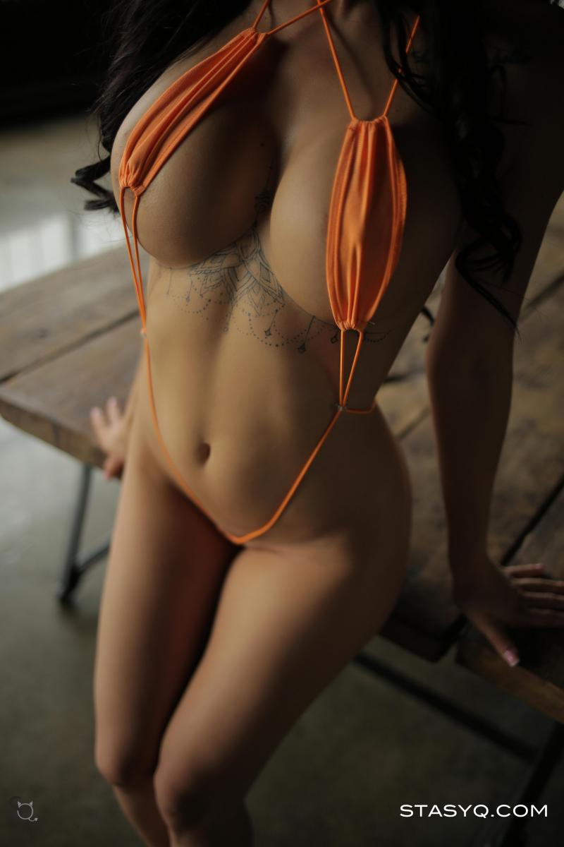 SilyQ in a skimpy orange bikini for StasyQ | Daily Girls @ Female Update