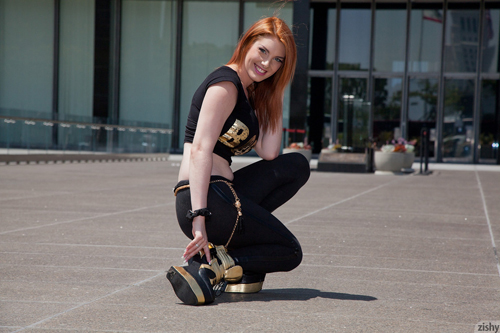 Zishy Red-Head Teases Outdoors | Daily Girls @ Female Update